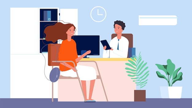 Job interview. female seekers, hr manager and woman. office conversation, business recruitment or testing illustration.