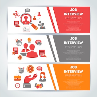 Job interview flat banner template set and elements composition