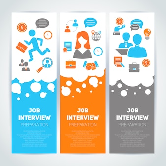 Job interview flat banner template set with elements composition