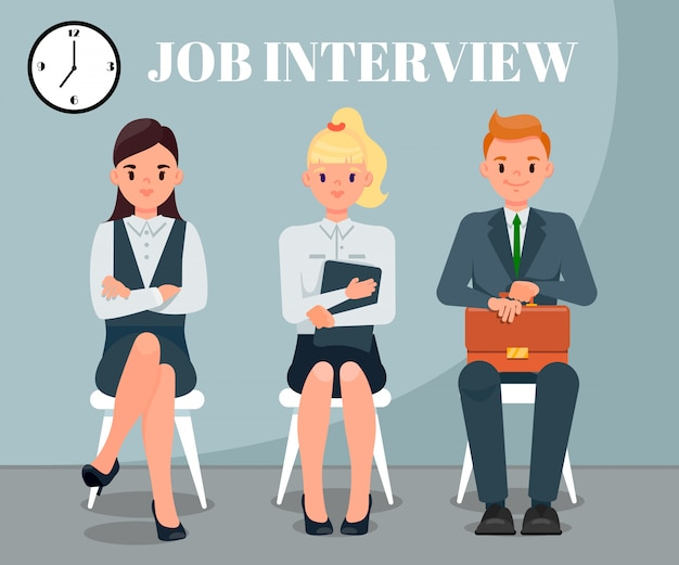 Job interview flat vector illustration with text