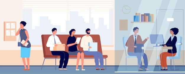 사무실에서 면접. 직업 모집, 직원과의 여성 커뮤니케이션. 긴장된 사람들이 대기열, 전문가 벡터 삽화. 채용 면접 후보자, 사업 직업