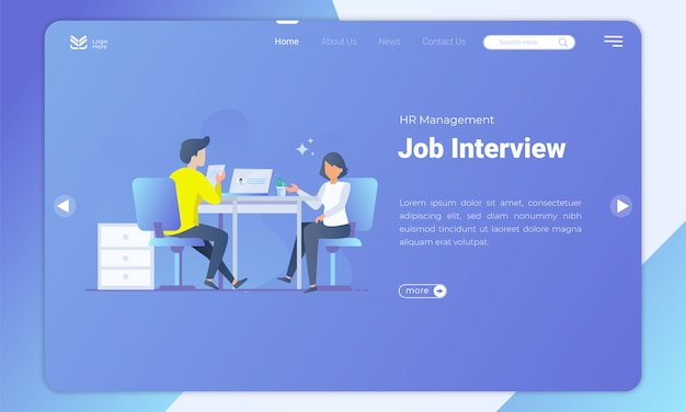 Job interview landing page template