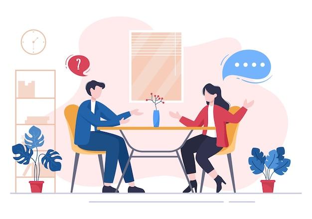 면접 회의, 후보자 및 hr 관리자. 고용 및 고용, 테이블에서 비즈니스 남자 또는 여자의 아이디어, 대화, 경력, 인적 자원 개념에 대 한 벡터 일러스트 레이 션
