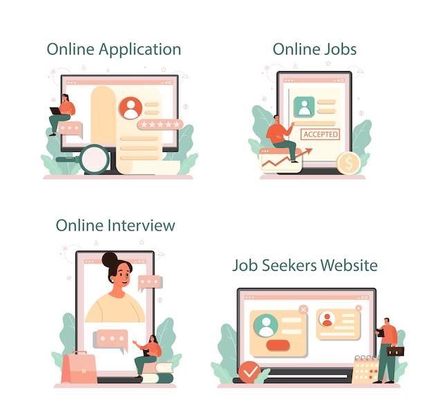 就職の面接オンラインサービスまたはプラットフォームセット
