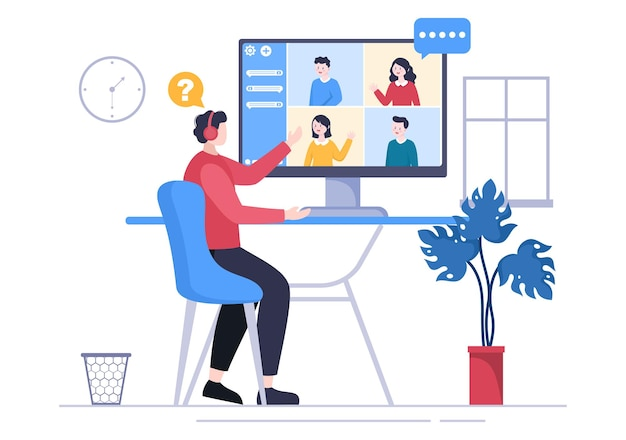 Job interview online service or platform, candidate and hr manager. business man or woman at table, vector illustration for conversation, career, human resource concept