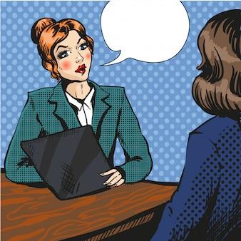 Job interview pop art  illustration