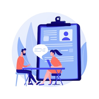 Job interview process. hiring new employees. hr specialist cartoon character talking to new candidatee. recruitment, employment, headhunting concept illustration