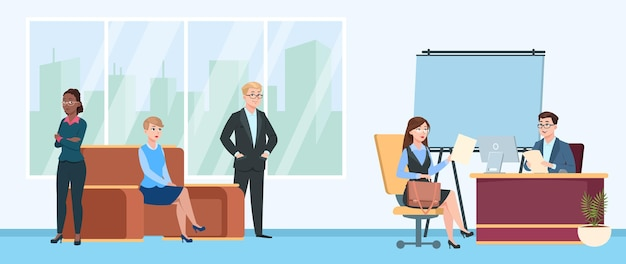 Job interview queue. people in room wait line, cartoon nervous woman man characters. hr or recruitment office, employees seeking. male female waiting appointment lawyer or manager vector illustration