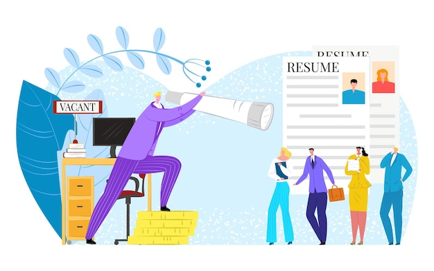 Job interview recruitment, vector illustration. man woman people character look for employment, flat business hr worker searching candidate with spyglass. resume for professional company.