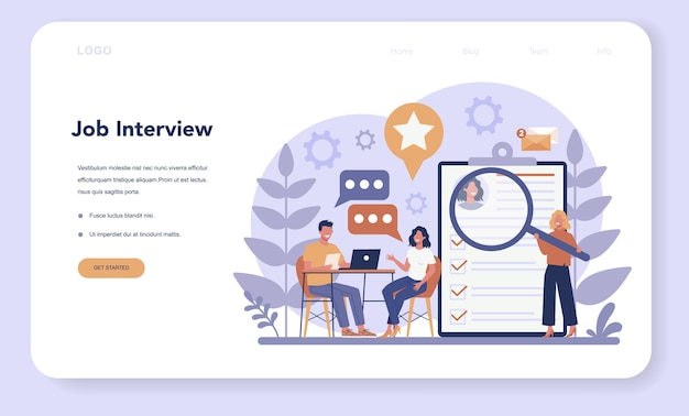 Job interview web banner or landing page. idea of employment and hiring. recruitment manager searching.
