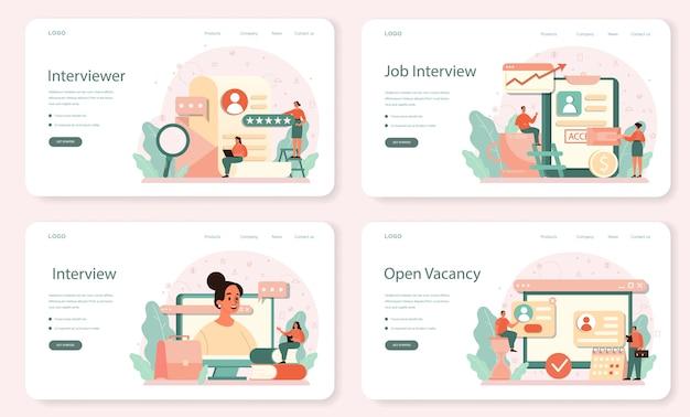 就職の面接のウェブバナーまたはランディングページセット