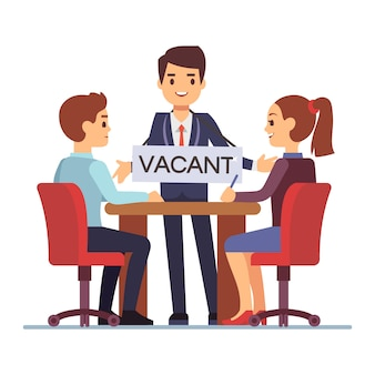 Job interview with hr managements man with table vacant