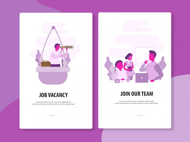 Job looking and recruitment vector template