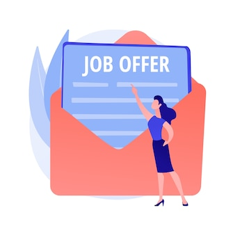 求人応募レターの回答。キャリアの機会、ビジネスの提案、採用契約。男はメールで雇用契約を受け取るコンセプトイラスト