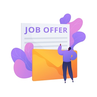 Job offer application letter response. career opportunity, business proposition, recruitment agreement. man receives employment contract by mail.