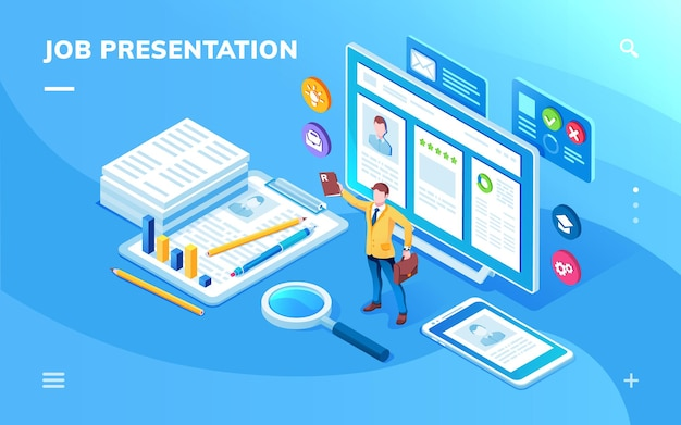 Job presentation application screen or isometric page for work candidate cv or resume constructor. smartphone app for recruitment agency or hiring business, vacancy search, employee.