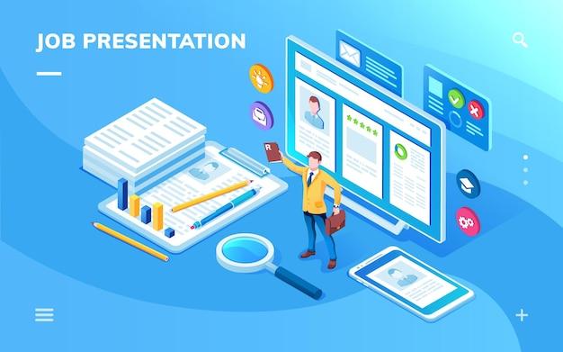 Экран приложения для презентации вакансии или изометрическая страница для резюме кандидата на работу или конструктора резюме. приложение для смартфона для кадрового агентства или кадрового агентства, поиска вакансии, сотрудника.