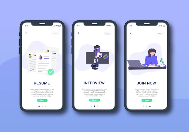 Job process set of onboarding screen mobile ui