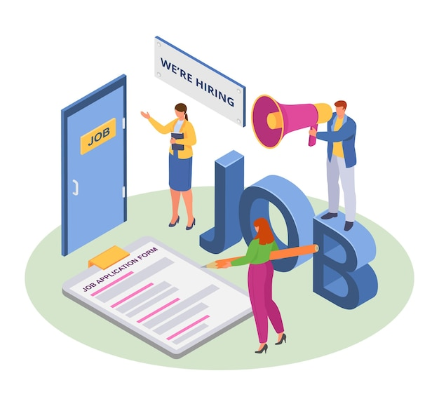 Job recruit, isometric human employment, vector illustration. business man woman character hire employee, person sign application form. flat resume for work recruitment in office.