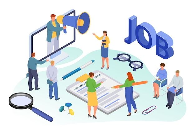 Job recruiting isometric, vector illustration. employment for tiny man woman character, flat person use loudspeaker for hr work. candidate sit for recruitment interview near computer screen. Premium Vector