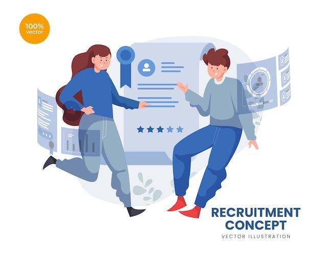 두 사람이 후보를 선택하는 직업 모집 개념
