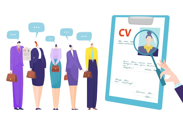 Job recruitment with cv, business interview by candidate resume illustration