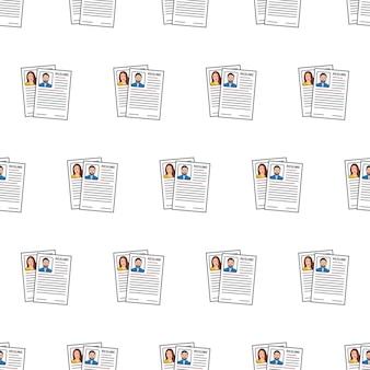 Работа возобновляет бесшовные модели на белом фоне. cv приложение тема векторные иллюстрации