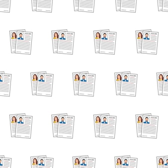Job resumes seamless pattern on a white background. cv application theme vector illustration