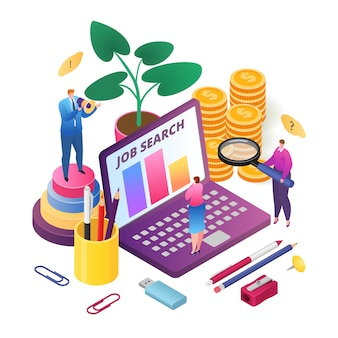 Job search, best candidate for career, recruitment process, hr managers searching new employee, isometric  illustration. human resource management, recuiting and hiring for job.