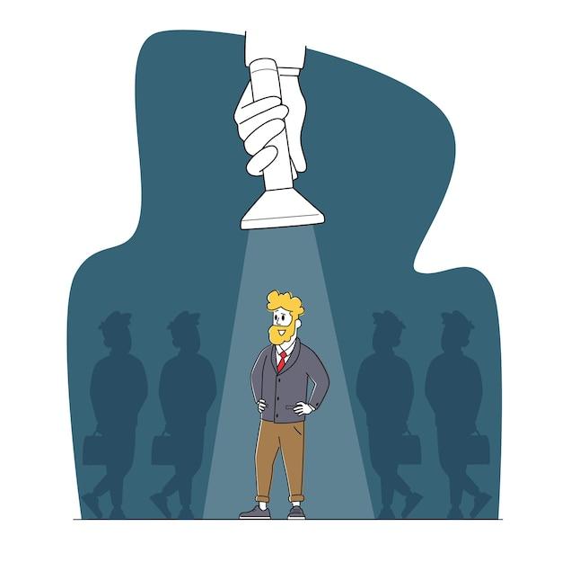 就職活動の求人コンセプト。群衆の外にスポットライトビームスタンドで腕を腰に当ててビジネスマンのキャラクタースタンド