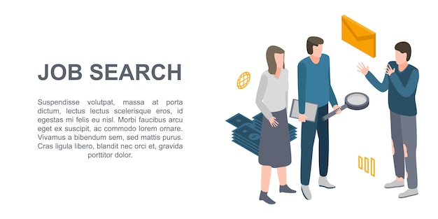 Job search concept banner, isometric style