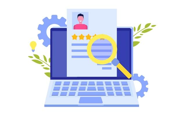 Поиск работы, поиск или подбор персонала, наем сотрудников, концепция. плоский