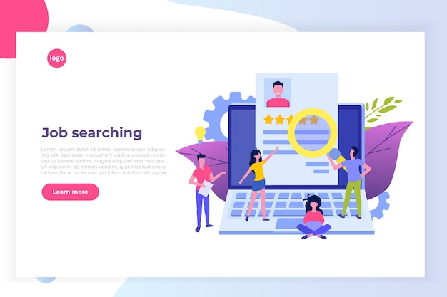 Job search, head hunting or recruitment, hiring employees, concept. flat