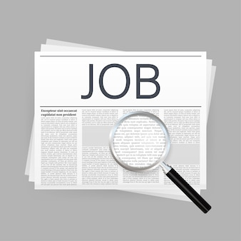 Job search newspaper. recruitment interview