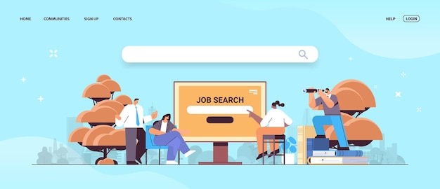 Job search recruitment headhunting in social network mix race employees looking for job