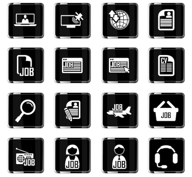 Job search vector icons for user interface design