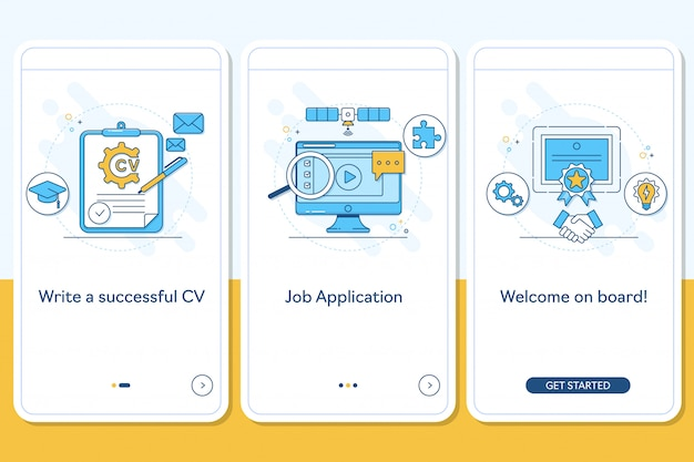 Job searching on boarding mobile app page screen