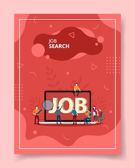 Job searching people standing sitting magnifier front laptop for template of flyer