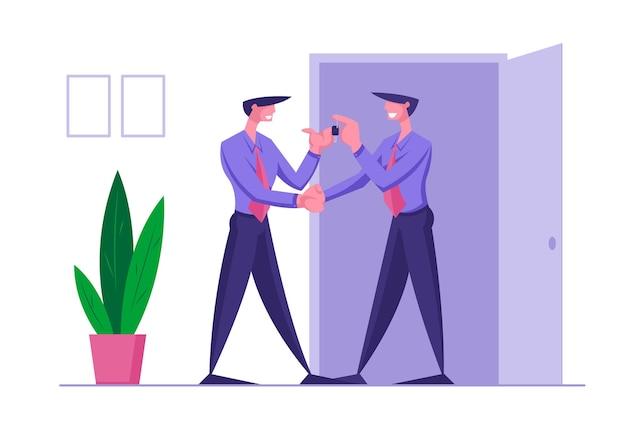 Соискатель или концепция найма босса сотрудника. успешные переговоры с партнерами, предложение работы