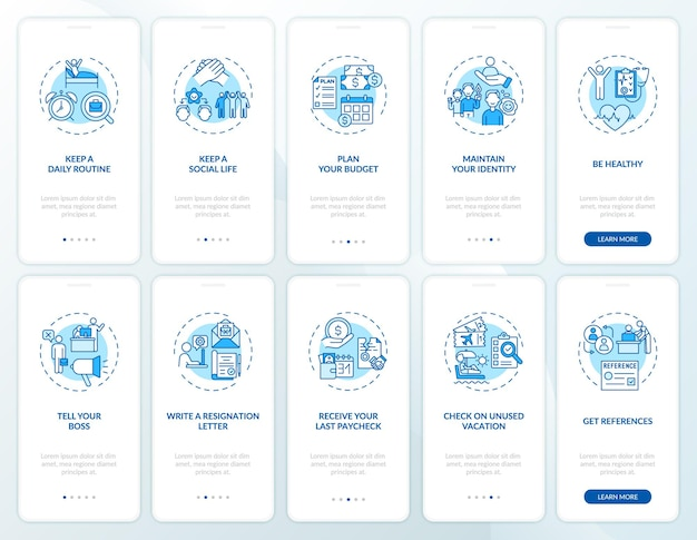 Job transition onboarding mobile app page screen set with concepts. work change tips walkthrough 5 steps graphic instructions.