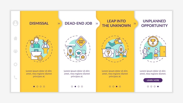 Job transition reasons onboarding mobile app page screen with concepts. transition causes walkthrough 4 steps graphic instructions. ui, ux, gui vector template with linear day mode illustrations