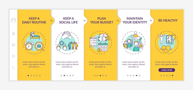 Job transition tips onboarding mobile app page screen with concepts. career change walkthrough 5 steps graphic instructions. ui, ux, gui vector template with linear day mode illustrations