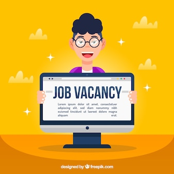 Job vacancy background with boy