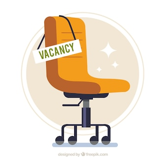 Job vacancy background with chair in flat style