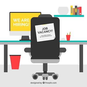 Job vacancy background with desk