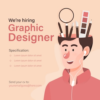Шаблон баннера вакансии для графического дизайнера