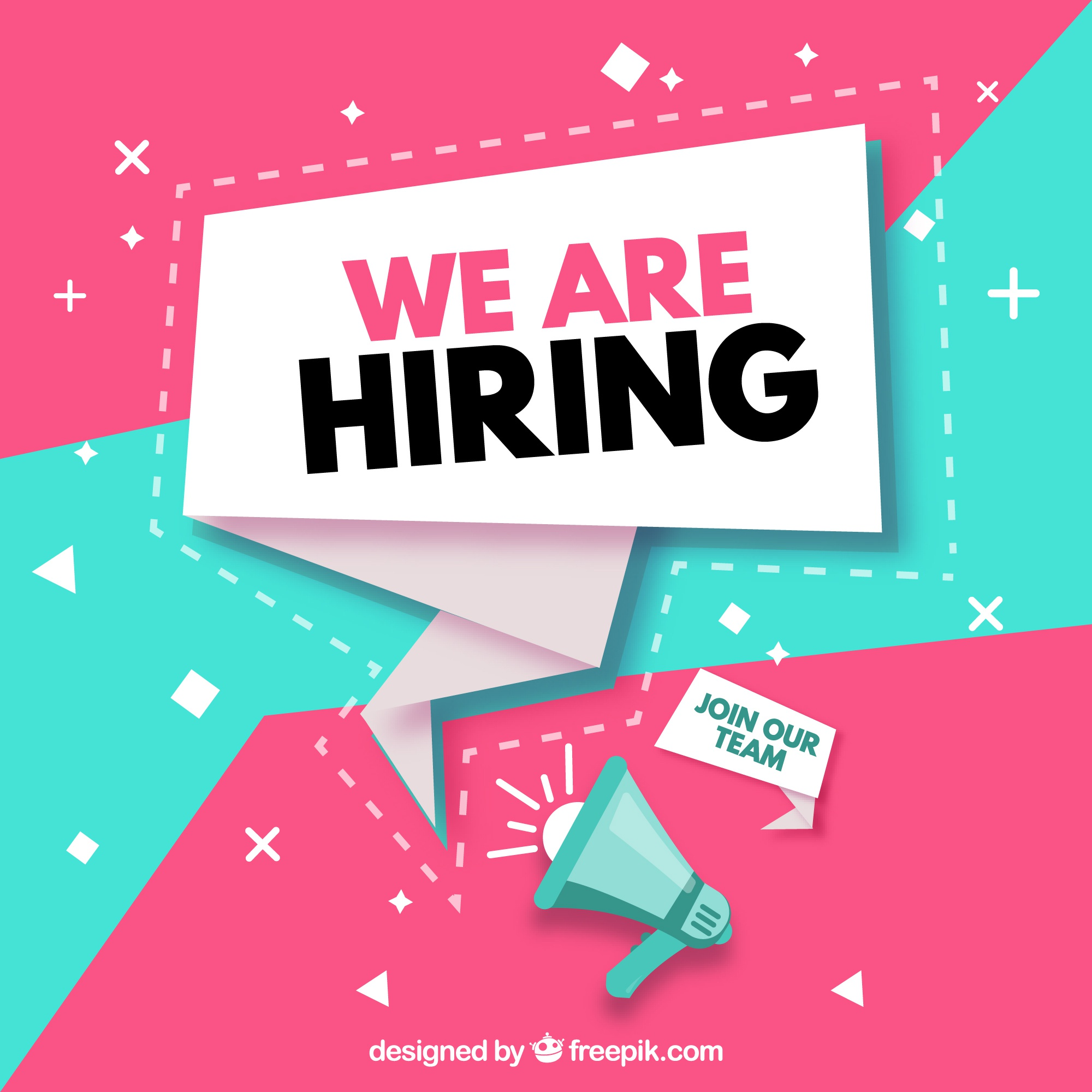 Job vacancy composition with abstract design
