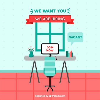 Job vacancy composition with flat design