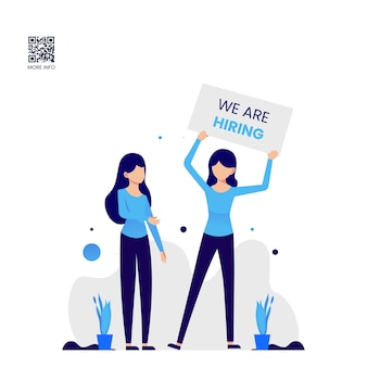 Job vacancy design template with flat illustration