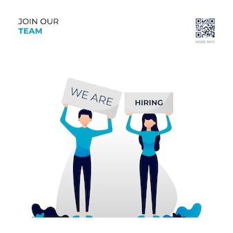 Job vacancy illustration, we are hiring Premium Vector